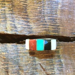 Sterling, turquoise & coral ring size 6